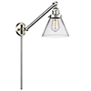 This item: Large Cone Brushed Satin Nickel 25-Inch One-Light Swing Arm Wall Sconce with Clear Cone Glass