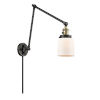 This item: Franklin Restoration Black Antique Brass Eight-Inch One-Light Swing Arm Wall Sconce with Matte White Cased Small Bell Shade and Molded Plug