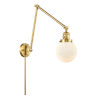 This item: Franklin Restoration Satin Gold 30-Inch One-Light Swing Arm Wall Sconce with Matte White Cased Beacon Shade and Molded Plug