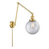 This item: Franklin Restoration Satin Gold 30-Inch One-Light Swing Arm Wall Sconce with Clear Large Beacon Shade and Molded Plug