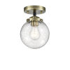 This item: Nouveau Black Antique Brass Six-Inch LED Semi-Flush Mount with Seedy Glass Shade