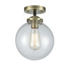 This item: Large Beacon Black Antique Brass One-Light Semi Flush Mount with Seedy Glass