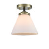 This item: Nouveau Black Antique Brass Eight-Inch One-Light Semi-Flush Mount with Matte White Cased Large Cone Shade