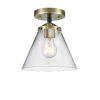This item: Nouveau Black Antique Brass Eight-Inch LED Semi-Flush Mount with Clear Large Cone Shade