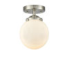 This item: Nouveau Brushed Satin Nickel Six-Inch One-Light Semi-Flush Mount with Matte White Glass Shade
