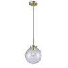 This item: Nouveau Black Antique Brass Eight-Inch LED Mini Pendant with Clear Beacon Shade