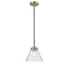 This item: Nouveau Black Antique Brass Eight-Inch One-Light Mini Pendant with Seedy Large Cone Shade
