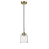 This item: Nouveau Black Antique Brass Five-Inch One-Light Mini Pendant with Seedy Glass Shade