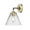 This item: Nouveau Black Antique Brass Eight-Inch One-Light Wall Sconce with Clear Large Cone Shade
