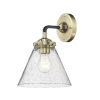 This item: Nouveau Black Antique Brass Eight-Inch LED Wall Sconce with Seedy Large Cone Shade