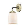 This item: Nouveau Black Antique Brass Five-Inch One-Light Wall Sconce with Matte White Glass Shade