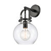 This item: Newton Matte Black One-Light Wall Sconce with Clear Sphere Glass
