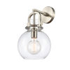 This item: Newton Brushed Satin Nickel LED Wall Sconce with Clear Sphere Glass