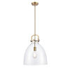 This item: Newton Brushed Brass LED Pendant with Clear Dome Glass