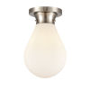 This item: Genesis Satin Nickel Eight-Inch One-Light Flush Mount with White Glass Shade