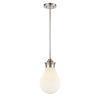 This item: Genesis Satin Nickel Eight-Inch One-Light Mini Pendant with White Glass Shade