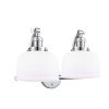 This item: Large Bell Polished Chrome Two-Light Bath Vanity with Matte White Cased Glass