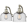 This item: Large Bell Brushed Satin Nickel 18-Inch Two-Light LED Bath Vanity with Seedy Dome Glass