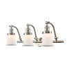 This item: Franklin Restoration Brushed Satin Nickel 12-Inch Three-Light LED Bath Vanity with Matte White Small Canton Shade