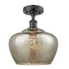 This item: Large Fenton Matte Black LED Semi Flush Mount with Mercury Glass