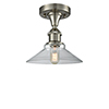 This item: Disc Brushed Satin Nickel One-Light Semi Flush Mount with Clear Cone Glass