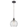 This item: Ballston Oil Rubbed Bronze Eight-Inch One-Light Mini Pendant with Clear Deco Swirl Shade