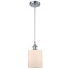 This item: Cobbleskill Polished Chrome One-Light Mini Pendant with Matte White Ripple Glass