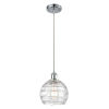 This item: Ballston Polished Chrome Eight-Inch LED Mini Pendant with Clear Deco Swirl Shade