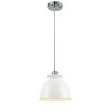 This item: Ballston Polished Chrome Eight-Inch One-Light Mini Pendant with Glossy White Metal Shade