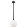 This item: Ballston Matte Black Eight-Inch One-Light Mini Pendant with Matte White Glass Shade