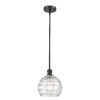 This item: Ballston Matte Black Eight-Inch LED Mini Pendant with Clear Deco Swirl Shade