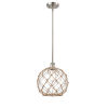 This item: Ballston Brushed Satin Nickel 10-Inch One-Light Pendant with Clear Glass with Brown Rope Glass and Rope Shade
