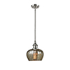 This item: Fenton Brushed Satin Nickel Seven-Inch LED Mini Pendant with Mercury Fluted Sphere Glass