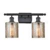 This item: Cobbleskill Matte Black Two-Light LED Bath Vanity with Mercury Glass