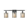 This item: Cobbleskill Matte Black Three-Light Bath Vanity with Mercury Glass