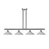 This item: Disc Brushed Satin Nickel Four-Light LED Island Pendant with Clear Cone Glass