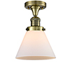 This item: Large Cone Antique Brass LED Semi Flush Mount with Matte White Cased Cone Glass