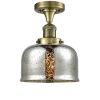 This item: Large Bell Antique Brass LED Semi Flush Mount with Silver Plated Mercury Glass