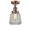 This item: Chatham Antique Copper 14-Inch One-Light Semi Flush Mount with Clear Fluted Novelty Glass