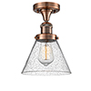 This item: Large Cone Antique Copper 12-Inch One-Light Semi Flush Mount with Seedy Cone Glass