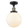 This item: Franklin Restoration Black Antique Brass 13-Inch LED Semi-Flush Mount with Large Matte White Cased Beacon Shade
