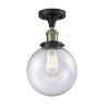 This item: Franklin Restoration Black Antique Brass 13-Inch One-Light Semi-Flush Mount with Large Seedy Beacon Shade