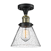This item: Large Cone Black Antique Brass 12-Inch One-Light Semi Flush Mount with Seedy Cone Glass