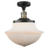 This item: Franklin Restoration Black Antique Brass 14-Inch One-Light Semi-Flush Mount with Matte White Cased Large Oxford Shade