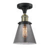 This item: Small Cone Black Antique Brass LED Semi Flush Mount