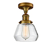 This item: Fulton Brushed Brass 11-Inch LED Semi Flush Mount with Clear Sphere Glass