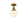This item: Franklin Restoration Brushed Brass 11-Inch One-Light Semi-Flush Mount with Matte White Cased Small Oxford Shade