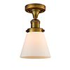 This item: Small Cone Brushed Brass Seven-Inch LED Semi Flush Mount with Matte White Cased Cone Glass