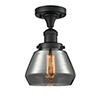This item: Fulton Black 11-Inch One-Light Semi Flush Mount with Smoked Sphere Glass
