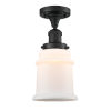 This item: Franklin Restoration Matte Black 12-Inch One-Light Semi-Flush Mount with Matte White Canton Shade